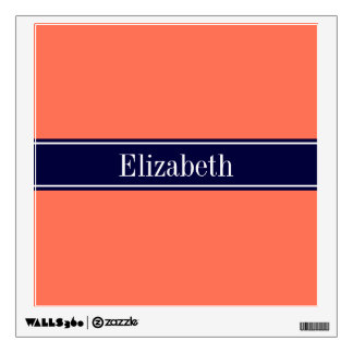 Solid Coral, Navy Blue Ribbon Name Monogram Wall Sticker