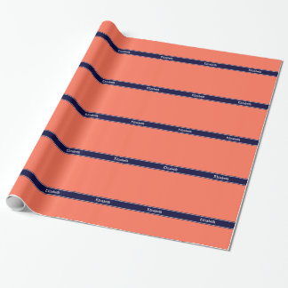 Solid Coral, Navy Blue Ribbon Name Monogram Wrapping Paper