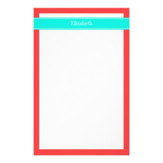 Solid Coral Red, Bright Aqua Ribbon Name Monogram Stationery