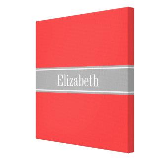 Solid Coral Red, Dark Gray Ribbon Name Monogram Canvas Print