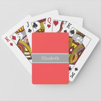 Solid Coral Red, Dark Gray Ribbon Name Monogram Card Decks