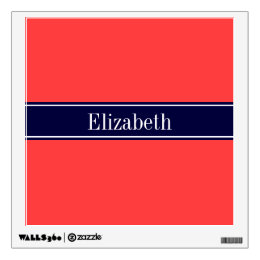 Coral And Navy Wall Decals Wall Stickers Zazzle - Coral monogram wall decal