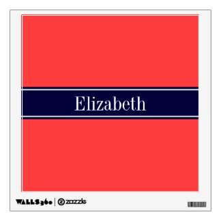 Solid Coral Red, Navy Blue Ribbon Name Monogram Wall Decal