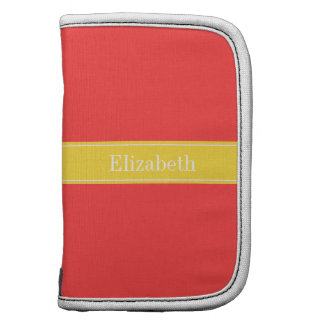 Solid Coral Red, Pineapple Ribbon Name Monogram Folio Planner