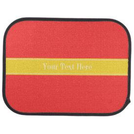 Solid Coral Red, Pineapple Ribbon Name Monogram Floor Mat
