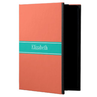 Solid Coral, Teal Ribbon Name Monogram iPad Air Cover