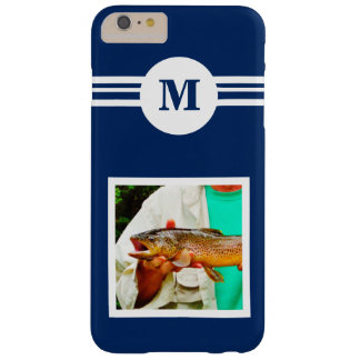 Solid Dark Blue custom monogram initial, add photo Barely There iPhone 6 Plus Case