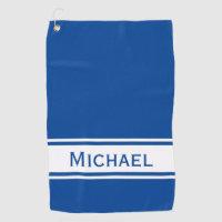 Solid Deep Blue White Stripe Name Golf Towel