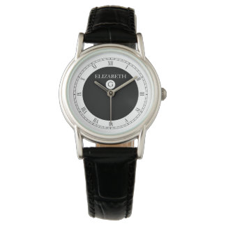 Solid Elegant Black and White Wrist Watch