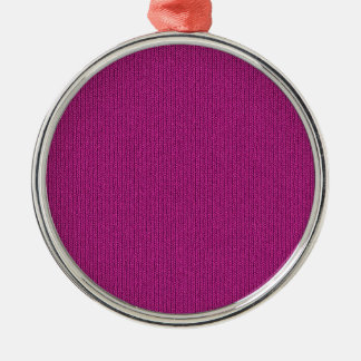 Solid Fuchsia Knit Stockinette Stitch Pattern Metal Ornament