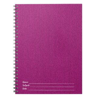 Solid Fuchsia Knit Stockinette Stitch Pattern Notebook