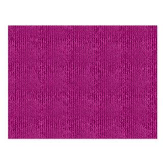Solid Fuchsia Knit Stockinette Stitch Pattern Postcard