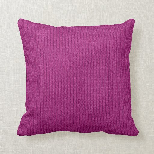 Solid Fuchsia Knit Stockinette Stitch Pattern Throw Pillow