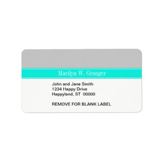 Solid Gray, Bright Aqua Ribbon Name Monogram Label