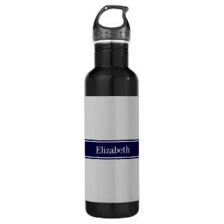 Solid Gray Navy Blue Ribbon Name Monogram 24oz Water Bottle