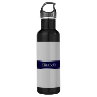 Solid Gray Navy Blue Ribbon Name Monogram Water Bottle