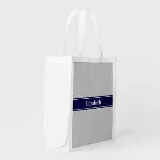 Solid Gray Navy Blue Ribbon Name Monogram Reusable Grocery Bag