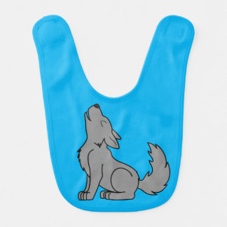 Solid Gray Wolf Pup Howling Baby Bib