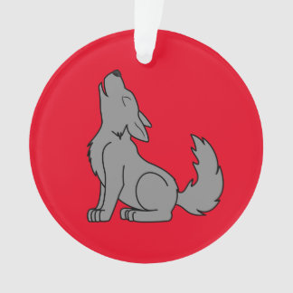 Solid Gray Wolf Pup Howling Ornament