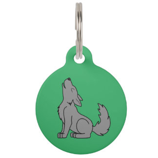 Solid Gray Wolf Pup Howling Pet Name Tag