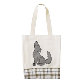 Solid Gray Wolf Pup Howling Zazzle HEART Tote Bag
