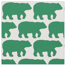 Solid Green Bear on White Background Fabric H