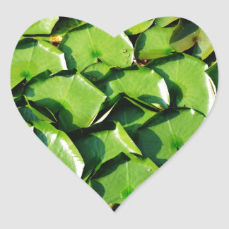 solid Green lily pads Heart Sticker