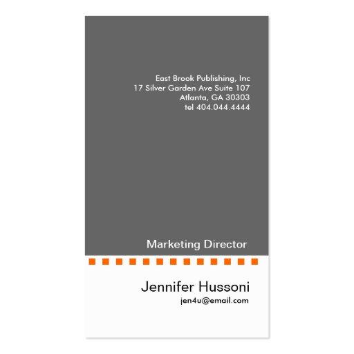 Solid Grey Orange Dash Business Card 2