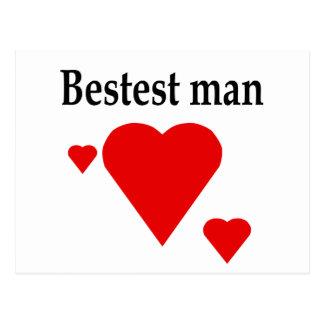 Solid Hearts Bestest Man Postcard