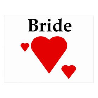 Solid Hearts Bride Postcard