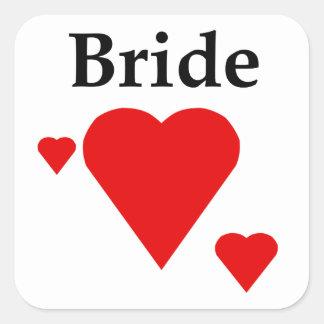 Solid Hearts Bride Square Sticker