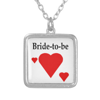 Solid Hearts Bride-To-Be Square Pendant Necklace