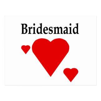 Solid Hearts Bridesmaid Postcard