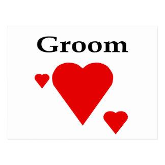 Solid Hearts Groom Postcard