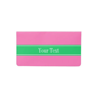 Solid Hot Pink #2 Emerald Green Rbn Name Monogram Checkbook Cover
