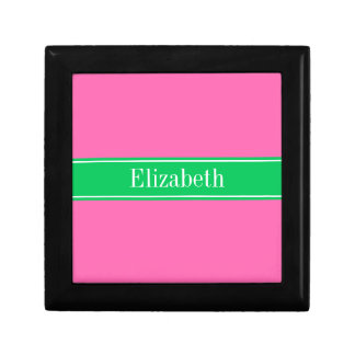 Solid Hot Pink #2 Emerald Green Rbn Name Monogram Jewelry Box