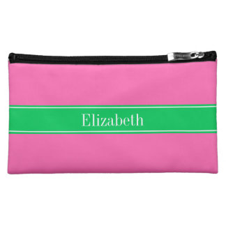 Solid Hot Pink #2 Emerald Green Rbn Name Monogram Makeup Bag