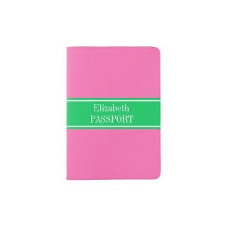 Solid Hot Pink #2 Emerald Green Rbn Name Monogram Passport Holder