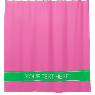 Solid Hot Pink #2 Emerald Green Rbn Name Monogram Shower Curtain