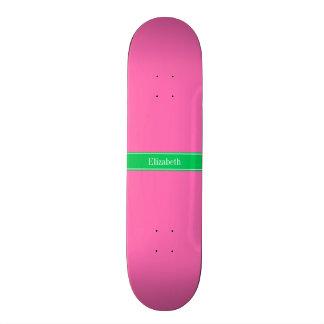 Solid Hot Pink #2 Emerald Green Rbn Name Monogram Skateboard Deck