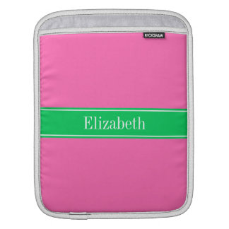 Solid Hot Pink #2 Emerald Green Rbn Name Monogram Sleeve For iPads