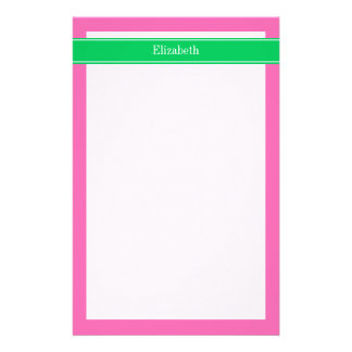 Solid Hot Pink #2 Emerald Green Rbn Name Monogram Stationery