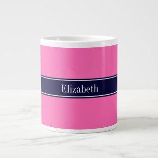 Solid Hot Pink #2, Navy Blue Ribbon Name Monogram Giant Coffee Mug