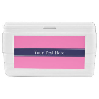 Solid Hot Pink #2, Navy Blue Ribbon Name Monogram Ice Chest