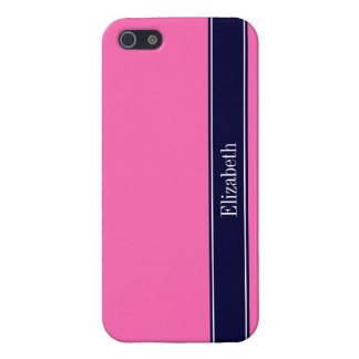 Solid Hot Pink #2, Navy Blue Ribbon Name Monogram iPhone 5/5S Cover