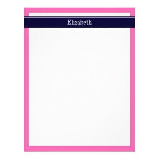 Solid Hot Pink #2, Navy Blue Ribbon Name Monogram Letterhead