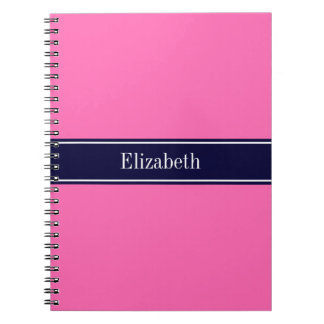 Solid Hot Pink #2, Navy Blue Ribbon Name Monogram Spiral Note Book