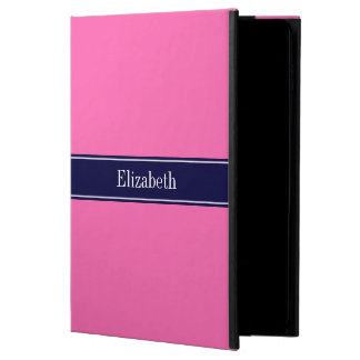 Solid Hot Pink #2, Navy Blue Ribbon Name Monogram Powis iPad Air 2 Case