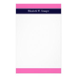 Solid Hot Pink #2, Navy Blue Ribbon Name Monogram Stationery
