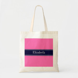 Solid Hot Pink #2, Navy Blue Ribbon Name Monogram Tote Bag